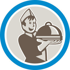 Waiter Serving Food On Platter Retro