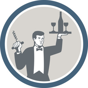 Waiter Serving Wine Bottle On Platter Retro