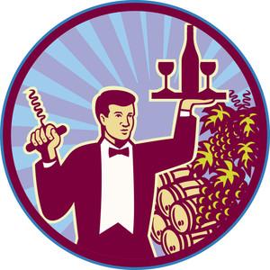 Waiter Serving Wine Glass Bottle Retro