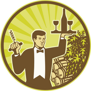 Waiter Serving Wine Grapes Barrel Retro