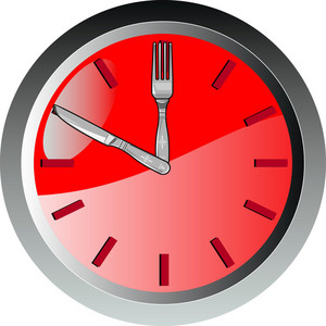 Wall Clock Spoon And Fork Eating Time