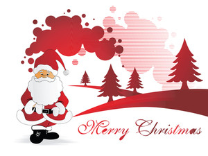Wallpaper Of Santa Claus With His Gift Bag