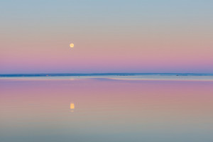Wane over Sea. Moon over bay. Beautiful morning landscape