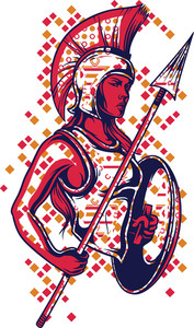 Warrior Girl Vector T-shirt Design
