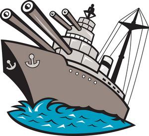 Warship Battleship Boat With Big Guns