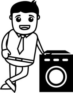 Washing Machine Sales Man - Vector Illustration