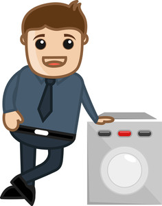 Washing Machine Sales Man - Vector Illustration