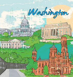 Washington Doodles Vector Illustration