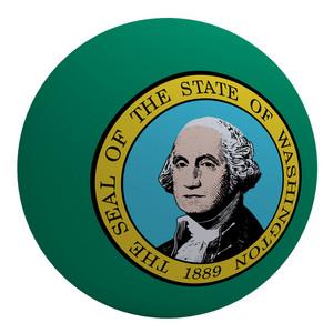 Washington Flag On The Ball Isolated On White.