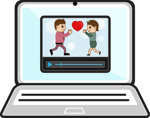 Watching Videos Over Laptop - Business Cartoons Vectors