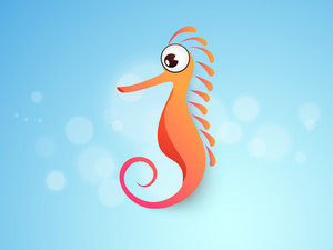 Water Animal Cartoons With Hippocampus (sea Horse).