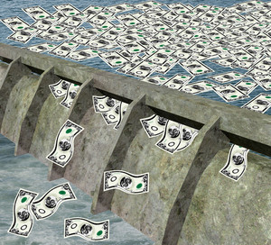 Water Dam With Money Flowing Water