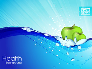 Water Droplets On Water Surface. Apple Floats In Water. Vector Illustration Eps10