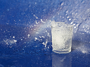 Water drops showering over glass