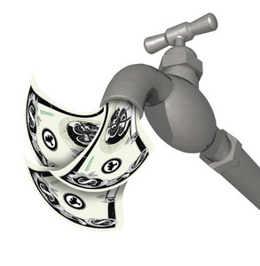 Water Faucet Tap 3d Render With Money
