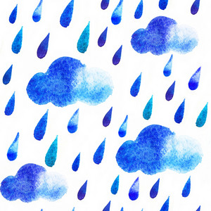 Watercolor Rain Drops And Clouds