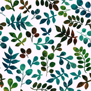 Watercolor Seamless Pattern On Leaves Theme