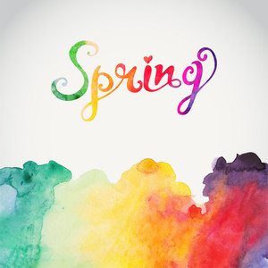 "Watercolor ""spring"" Vector Watercolor Lettering. Abstract Hand Drawn Watercolor Background"