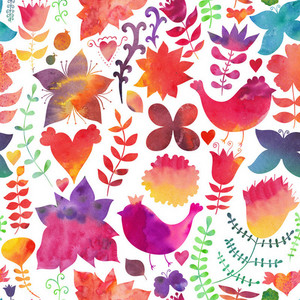 Watercolor Texture With Flowers And Birds.copy That Square To The Side