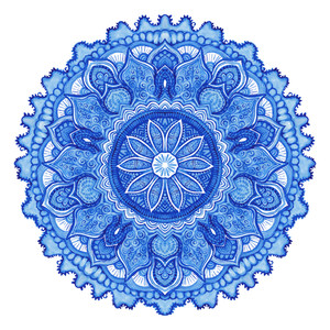 Watercolor Vector Gzhel. Doily Round Lace Pattern