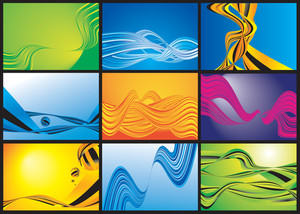 Wave Abstracts. Vector Background Set.