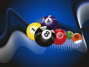 Wave Background With Colorful Billiard Balls