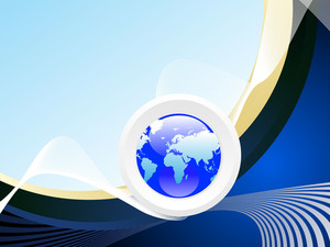 Wave Background With Isolated Globe