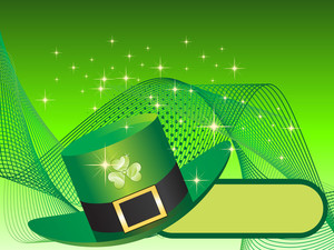 Wavy Background With Leprechaun Hat