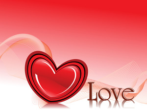 Wavy Background With Romantic Red Heart