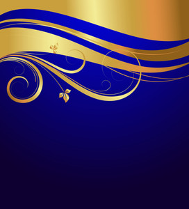 Wavy Golden Floral Background