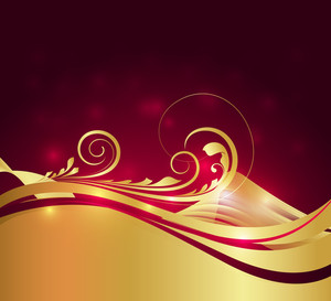 Wavy Golden Flourish Sparkles Background