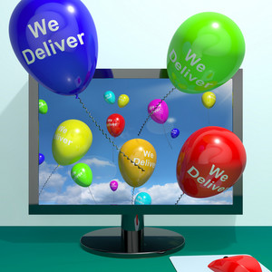 We Deliver Balloons From Computer Showing Delivery Shipping Servive Or Logistics