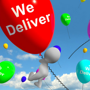 We Deliver Balloons Showing Delivery Shipping Service Or Logistics