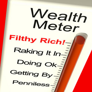 Wealth Meter Showing Money And Being Rich
