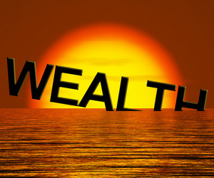 Wealth Word Sinking And Sunset Showing Depression Recession And Economic Downturn