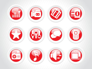 Web 2.0 Glassy Icons Set In Red