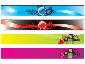 Web 2.0 Glossy Banners Set With Swirl Elements