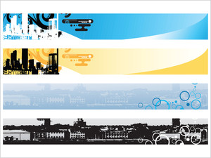 Web 2.0 Style Grunge City Series Website Banner Set 1