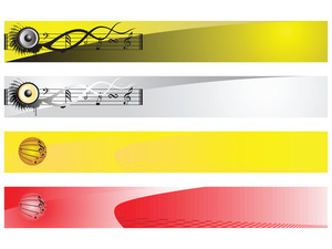Web 2.0 Style Musical Series Website Banner Set 3