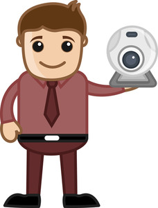 Web Cam - Spy Cam - Office Character - Vector Illustration