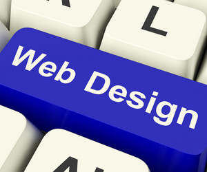 Web Design Computer Key Showing Internet Or Online Graphic Designing