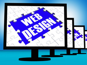 Web Design On Monitors Showing Creativity