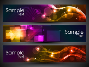 Website Banner Or Header With Shiny Abstract Design.