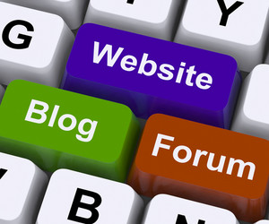 Website Blog And Forum Keys Show Internet Or Www