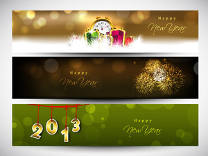 Website Header Or Banner Set Decorated With Evening Balls