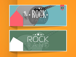 Website header or banner set for musical band with guitar.