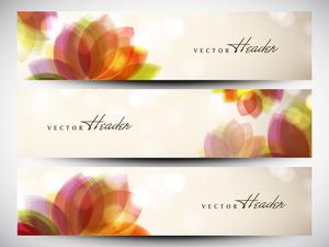 美しい花のデザインとウェブサイトのヘッダーやバナーセット。