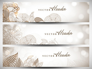 Website Header Or Banner Set With Beautiful Floral Design.