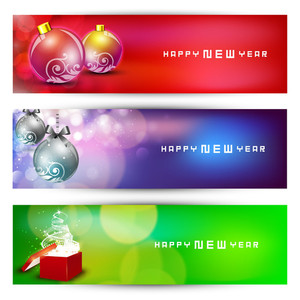 Website Header Or Banner Set With Decorative Xmas Balls