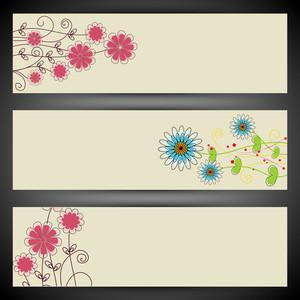 Website Header Or Banner Set With Floral Design